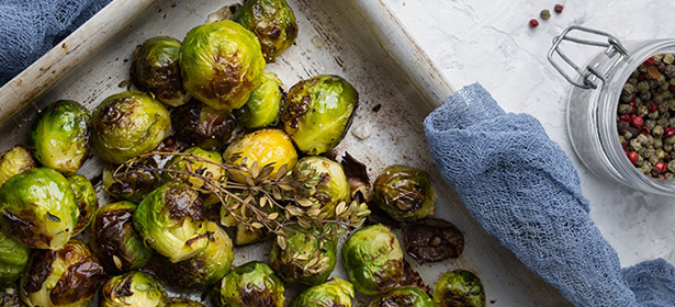 Brussels sprouts in roasting dish
