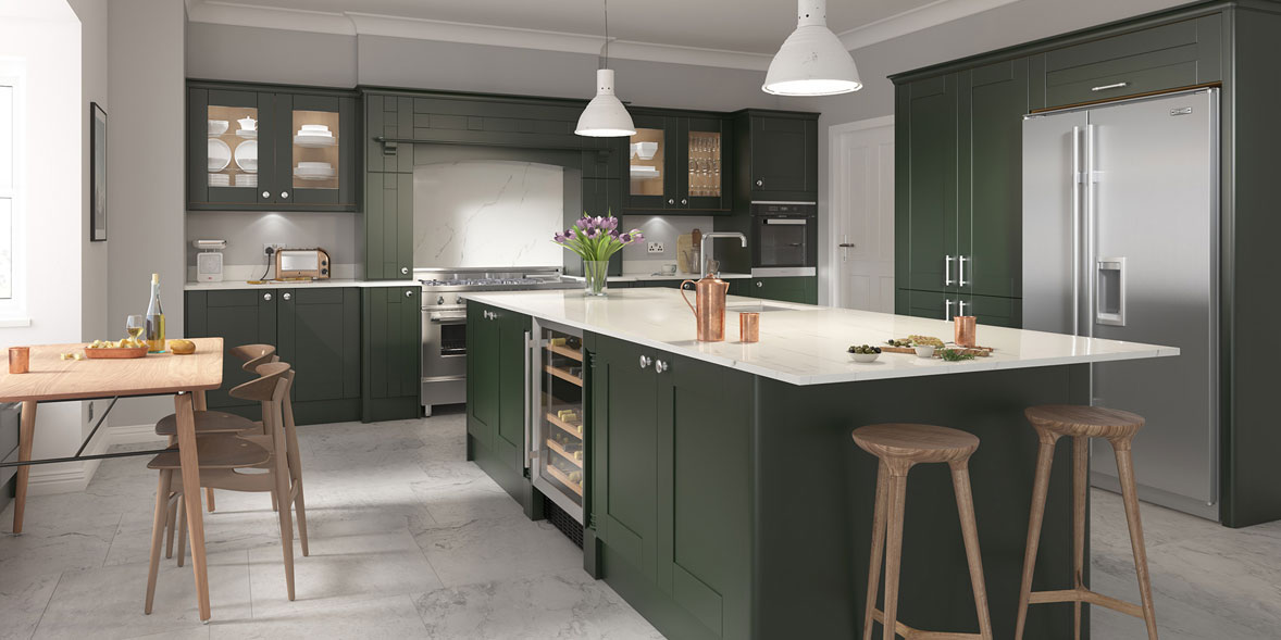 DIY Kitchens Clayton heritage green kitchen