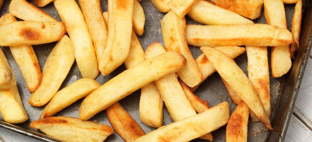 Oven chips on baking tray