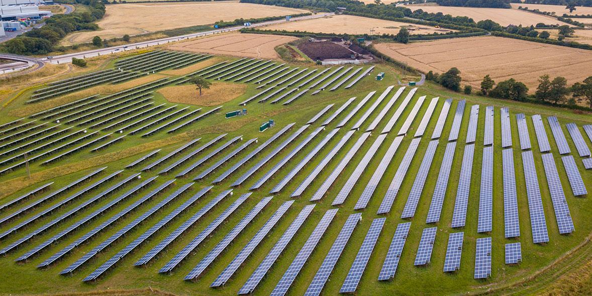Solar farm in fields