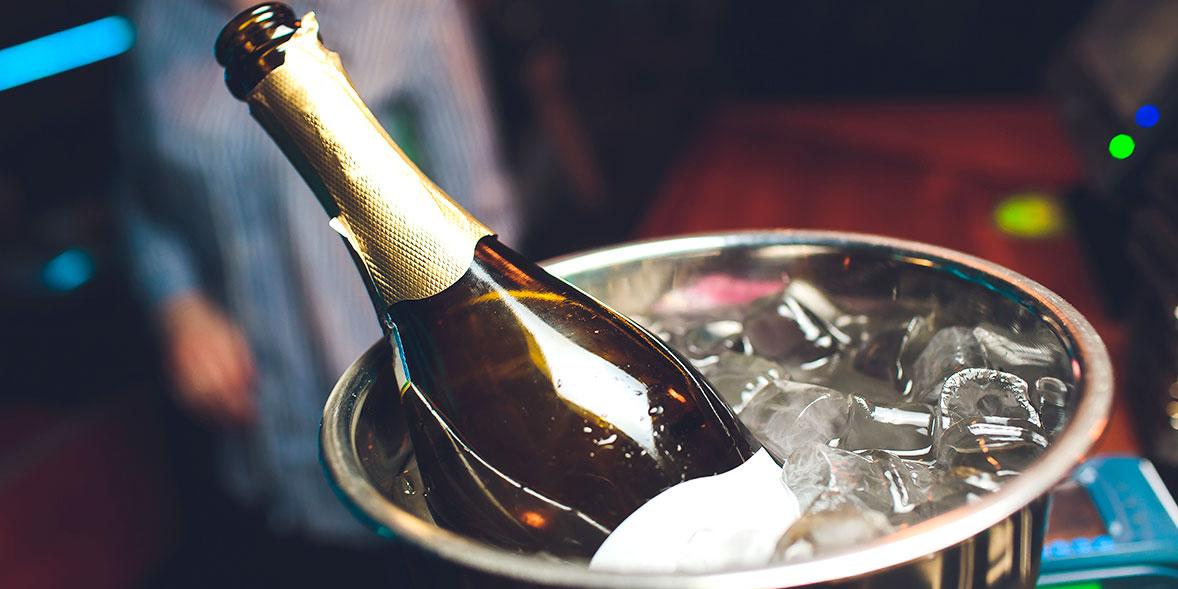 Wine in an ice bucket.