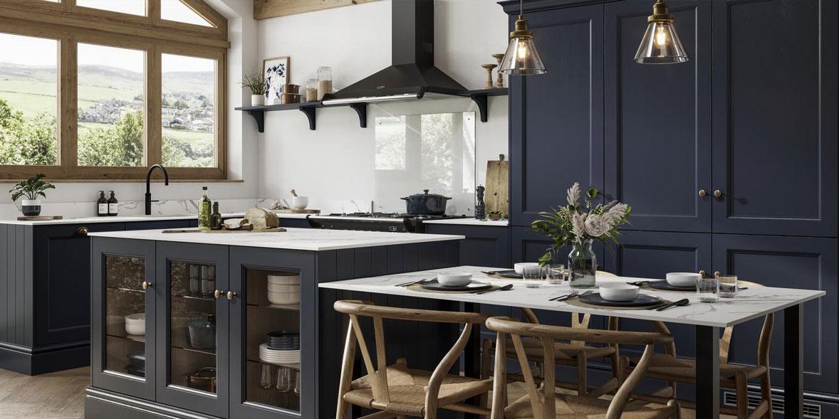 Howdens Joinery Elmbridge navy kitchen
