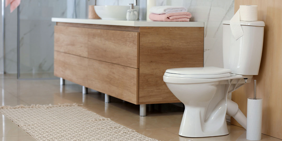 Bathroom close-coupled toilet