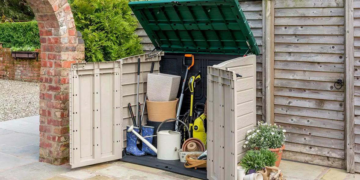 Storage box in a garden