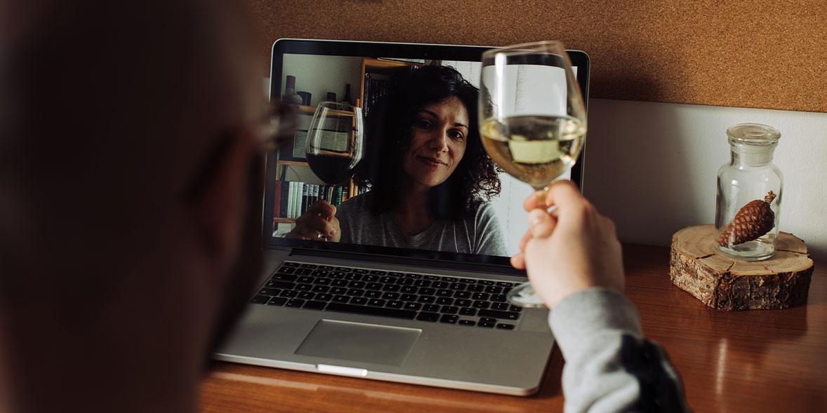 Wine tasting over Zoom.