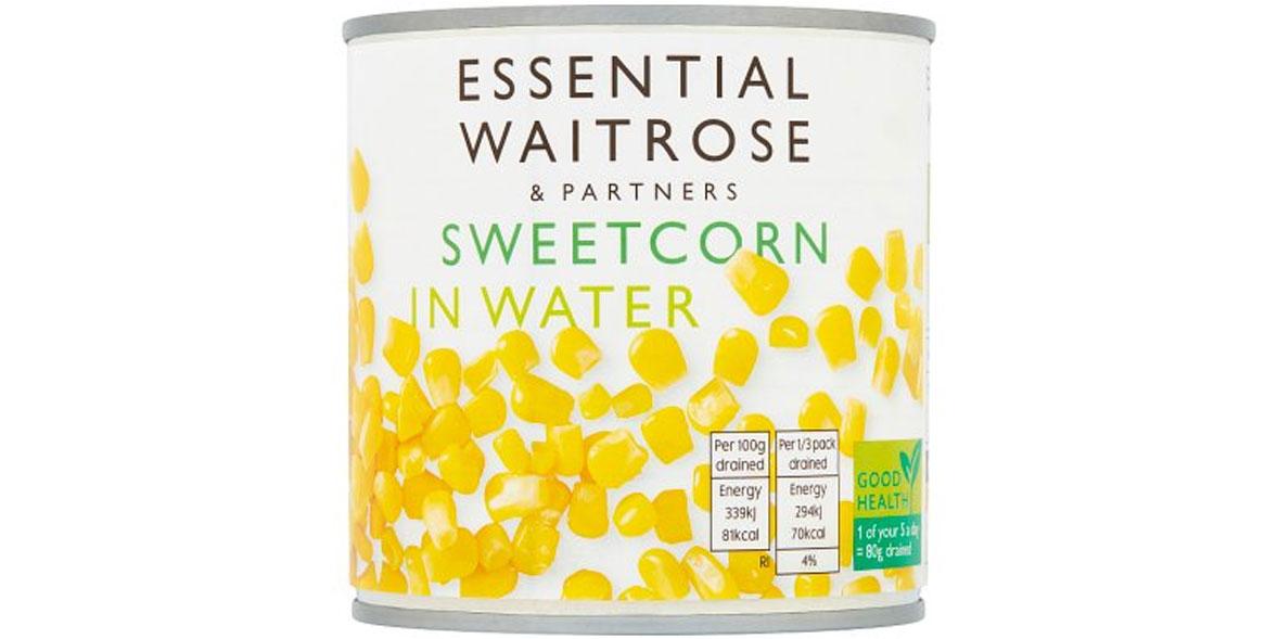 Essential waitrose sweetcorn in water