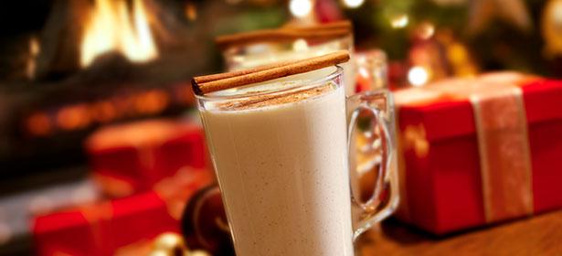 Glass of eggnog latte