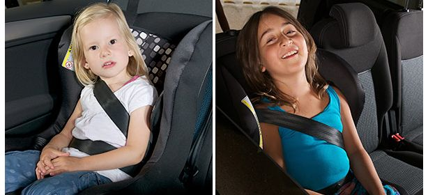 Incorrect position of adult seatbelt across the tummy