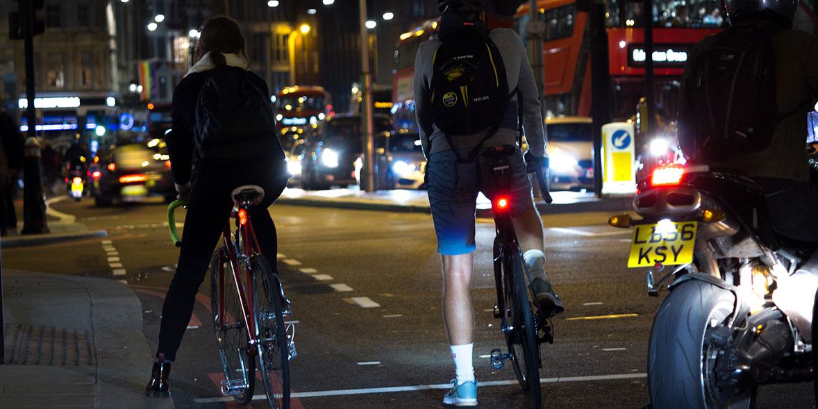 Bike in traffic with rear bike light on