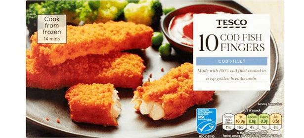 Tesco 10 Cod Fish Fingers