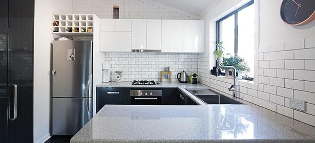 Silver fridge freezer in modern kitchen
