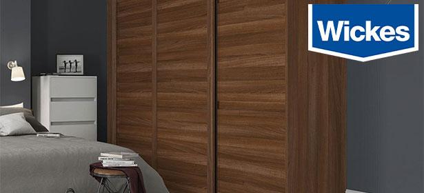 Wickes shaker three panel walnut sliding door with wickes logo 488644
