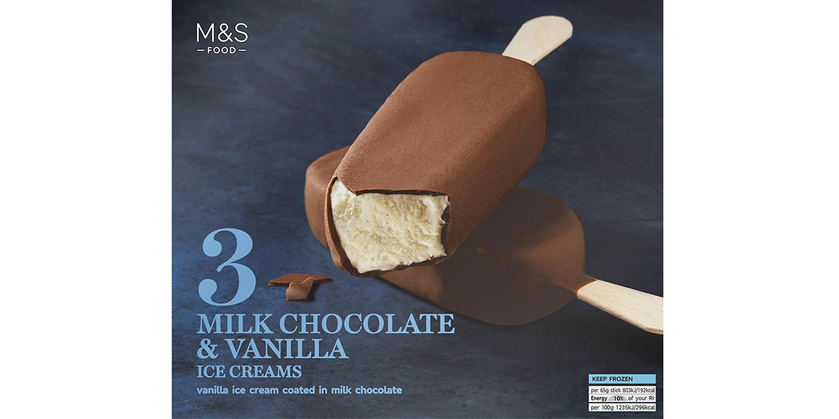 M&S 3 Milk Chocolate & Vanilla Ice Creams