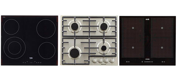 Left to right: a ceramic hob, a gas hob and an induction hob