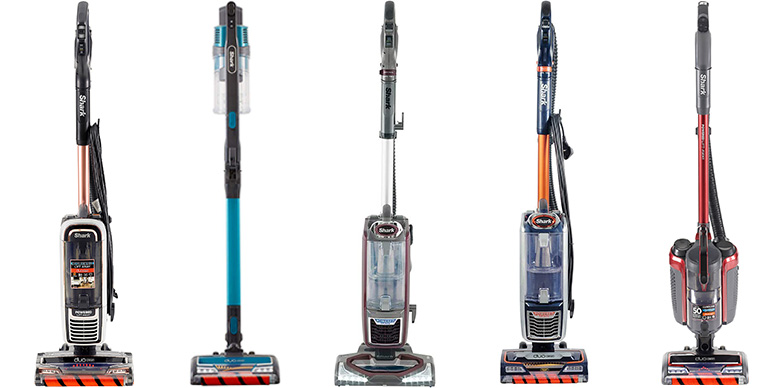 A lineup of Shark vacuum cleaners