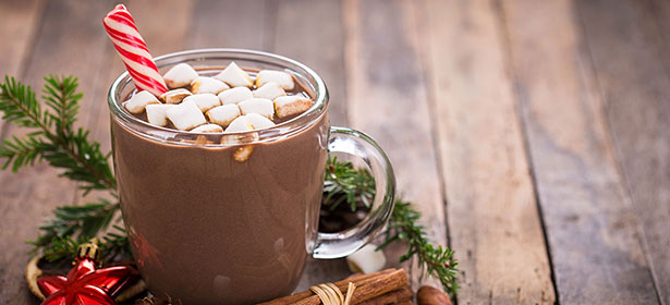 Glass of slow cooker hot chocolate