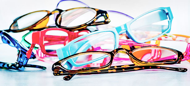 A pile of glasses frames