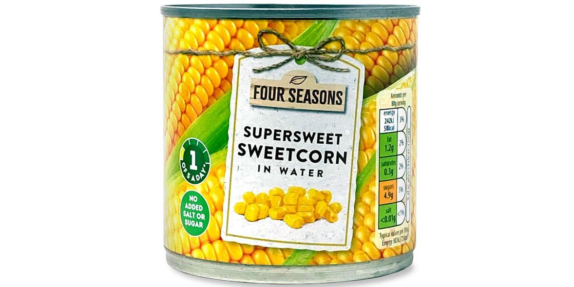 Aldi four seasons sweetcorn in water