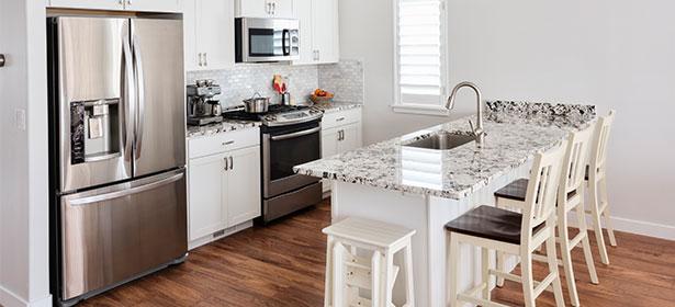 Silver American fridge freezer in a kitchen