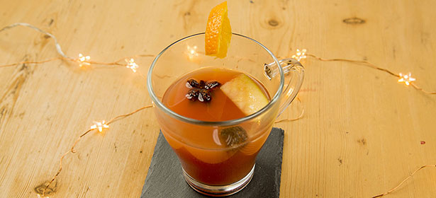 Glass of slow cooker mulled punch