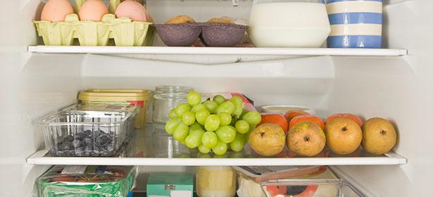 Food stored on fridge shelves