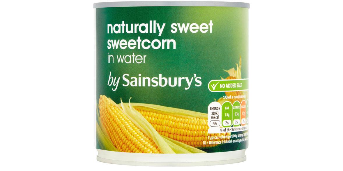 sainsburys sweetcorn in water