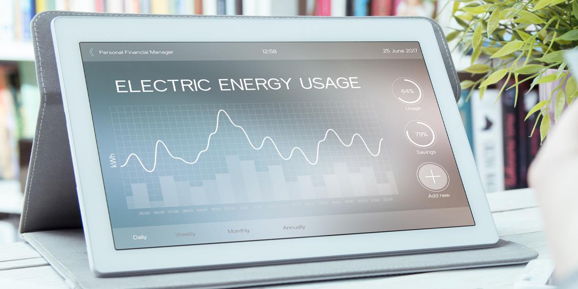 tablet displaying energy usage graph