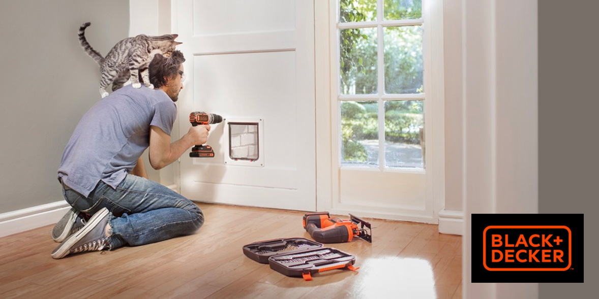 Man drilling with a Black+Decker cordless drill