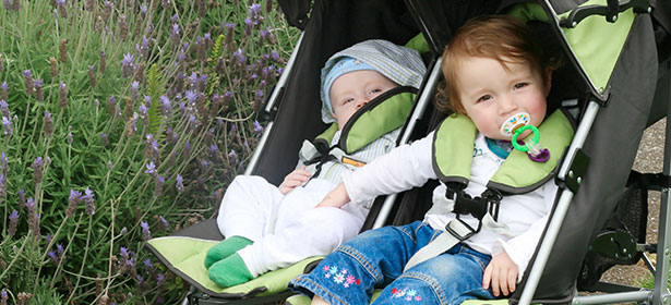 Double pushchair with babies in it