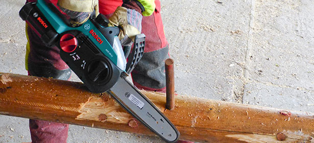 Testing a chainsaw for pruning