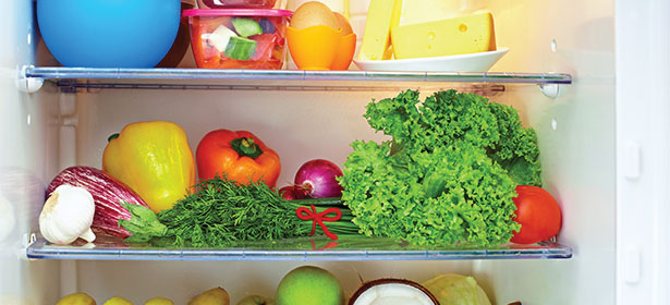 Fruit and vegetables in a fridge