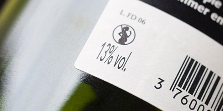 Health warning wine label
