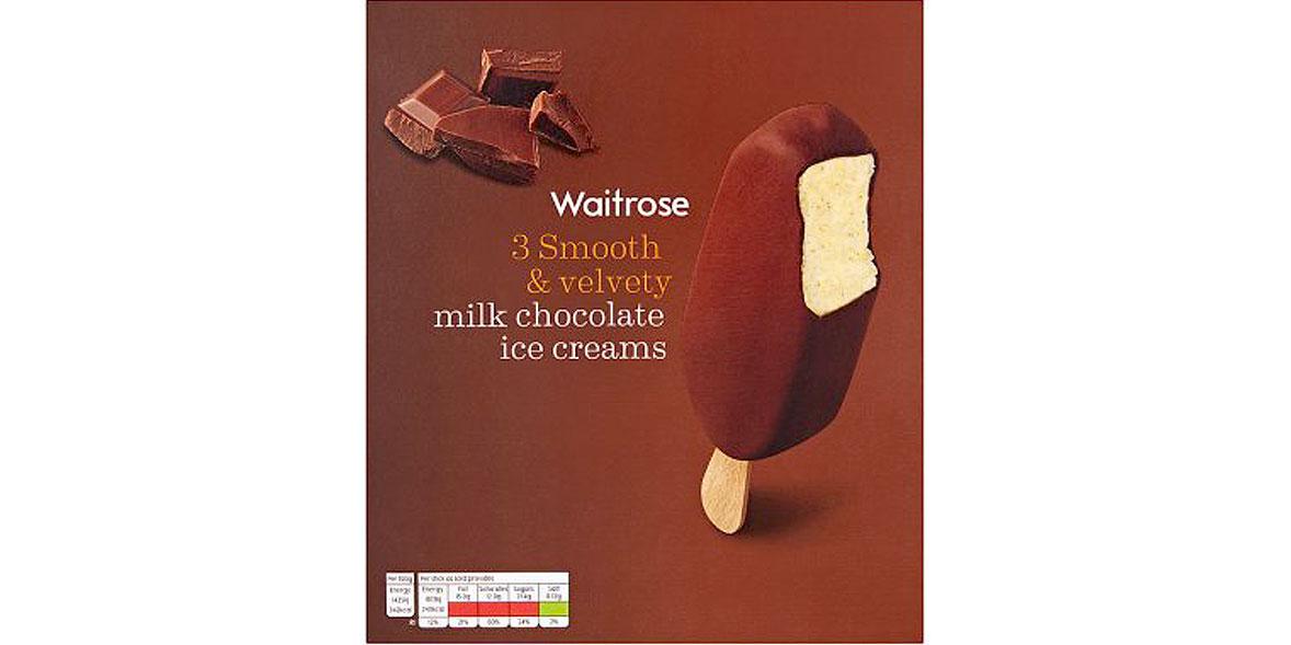 Waitrose 3 Smooth & Velvety Milk Chocolate Ice Creams