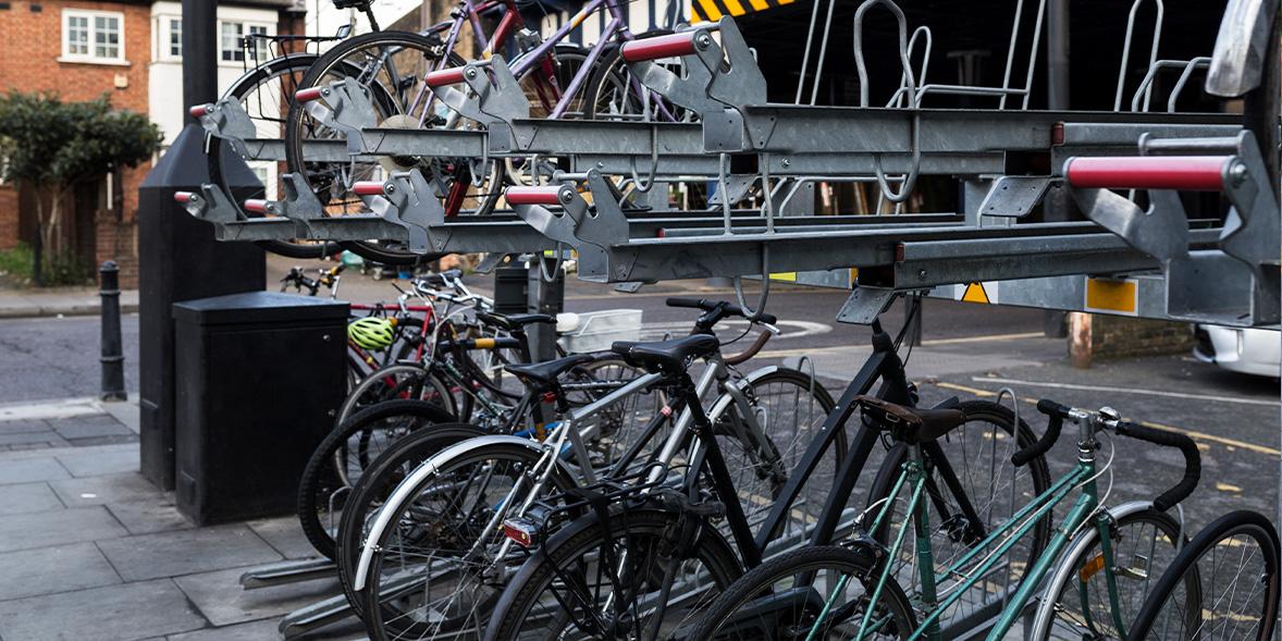 two story bike rack with bikes