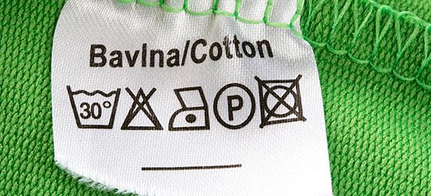 Laundry symbols on a clothes label