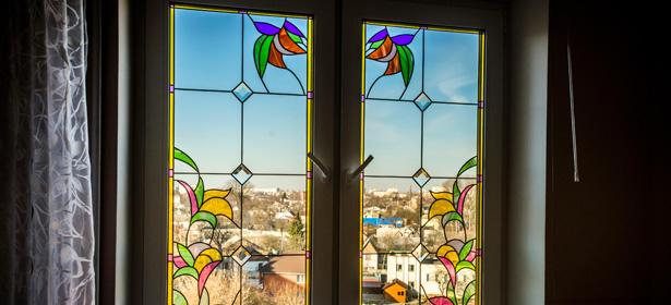 Coloured glass double glazing windows