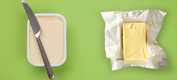 spreadable butter and block of butter