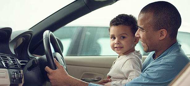 Parent and child in car