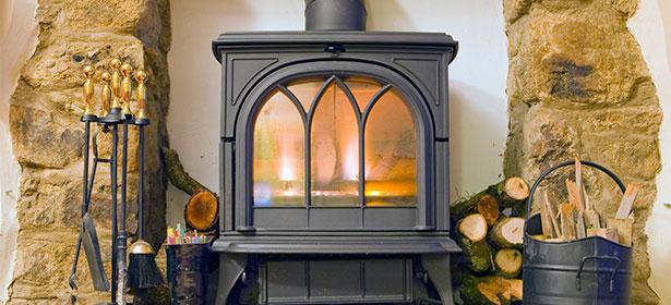 Wood burner lit