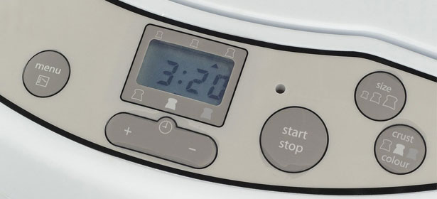 Bread maker control panel and settings