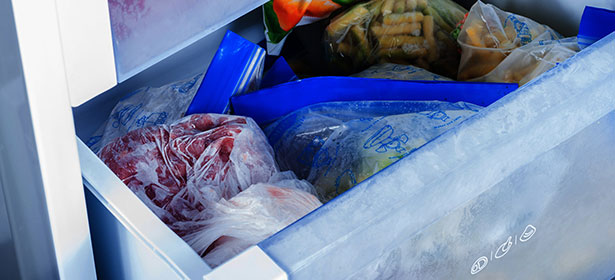 Food in a freezer drawer.