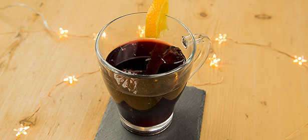 Glass of slow cooker mulled wine