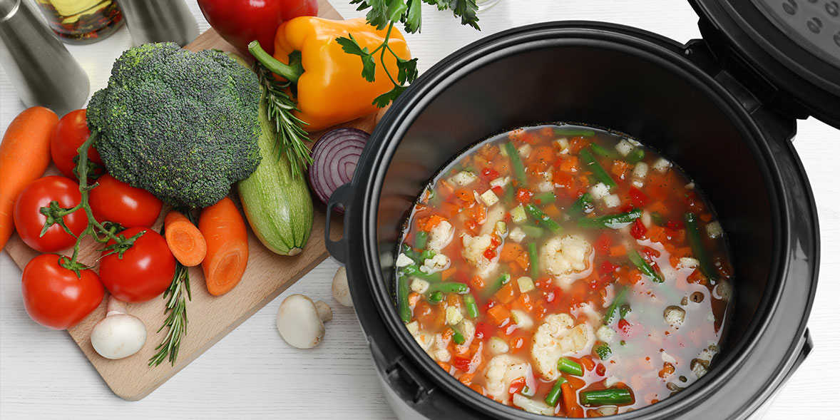 Vegetables cooking in a pressure cooker