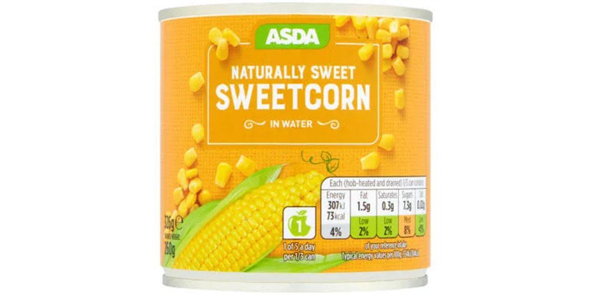 Asda sweetcorn in water