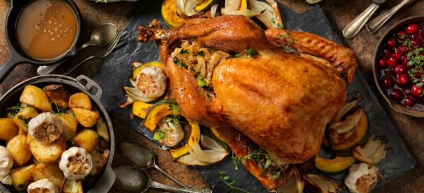 Whole roast turkey centrepiece