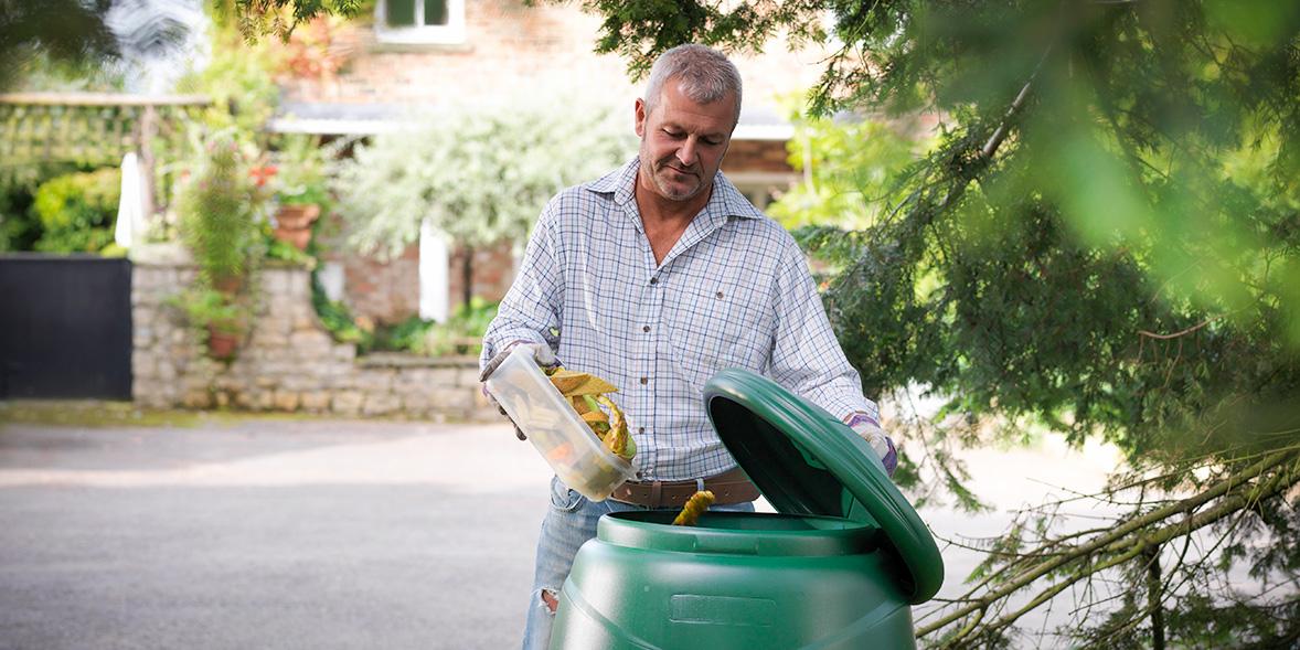Filling up a compost bin