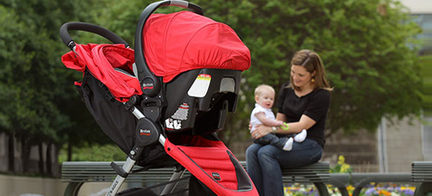 Travel system pushchair with mum and baby